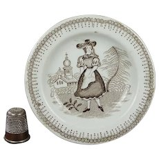 Circa 1830s Toy Plate, Transferware Girl and Church