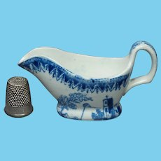 Rare 19th Century Miniature Toy Sauceboat for Doll KITE FLIER Childs Pearlware Franklin's Kite Transferware Circa 1820