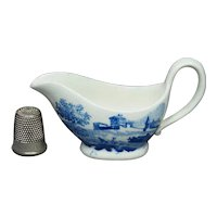 1820s Antique Toy Creamer, Miniature Sauceboat, Blue and White Transferware