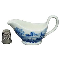 Early 19th Century Doll Toy Creamer Sauceboat Blue and White Transferware  Circa 1820s