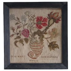 Antique 1836 Needlework Sampler Picture, Tent Stitch, Floral Cornucopia Canvaswork, English