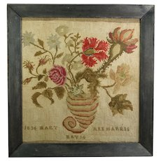 Antique 1836 Dated Canvaswork Sampler Needlework Picture, Floral Cornucopia, Folk Art, Primitive Frame