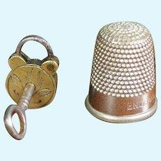 19th Century Tiny Victorian Miniature Padlock And Key Circa 1850