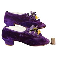 Fabulously Rare Victorian Girls Shoes PURPLE Velvet Circa 1885 GORGEOUS