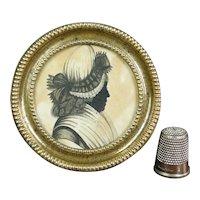 Rare 18th Century Miniature Georgian Silhouette Circular Pressed Brass Frame, Circa 1780 AF