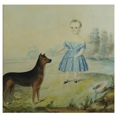 19th Century Large Watercolor Portrait, Girl And Dog, Naive English Country House Look Circa 1840
