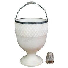 Unique Early 19th Century Georgian Swing Handle Sugar Basket, Rarest Alabaster Sterling Silver Dated 1805