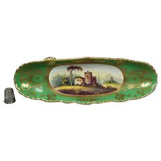 Georgian Porcelain Footed Stand, Pen Tray Hand Painted English Castle Ruins Landscape Circa 1820