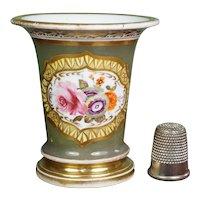 Regency Miniature Porcelain Vase, Chamberlain Worcester, Green Hand Painted Floral Flowers, Circa 1820,