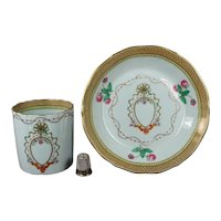 1820s Rare Spode Armorial Coffee Can And Saucer, Museum Quality