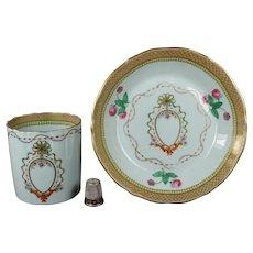 1820s Rare Spode Armorial Coffee Can And Saucer, Museum Quality