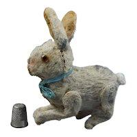 Antique Miniature German Clockwork Windup Hare Rabbit Bunny, Mohair Circa 1910 AS Found