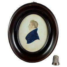 Early 19th Century Georgian Portrait Miniature Gentleman Oval Frame Circa 1825 Watercolor On Card