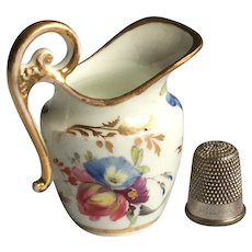 19th century Miniature Swansea Porcelain Jug, Floral Exotic Birds Circa 1820 AF