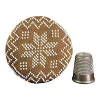 Original 19th Century Quaker Pincushion, Beaded Pin Cushion, Bead Work Pinball, Pinwheel Pinkeep Circa 1830