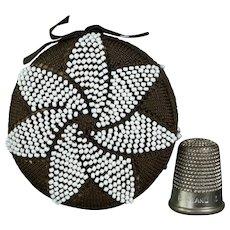 Antique 19th Century Silk Knitted Pinball, Quaker Beaded Pin Cushion Circa 1840 Pinkeep