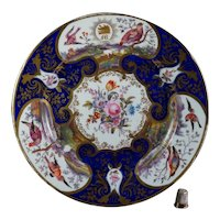 Early 19th Century Coalport Porcelain Plate, Hand Painted Floral Exotic Birds, Armorial Circa 1815 AF
