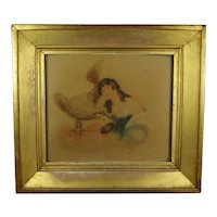 Antique 19th Century Regency Period Watercolor Portrait Lady Eagle Bird, Hebe And Zeus Circa 1815