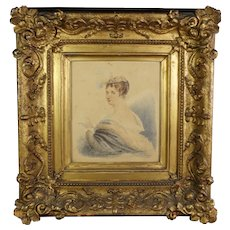 18th Century Lady Grace Byne Watercolor Portrait, Stunning Frame, Pencil Crayon Drawing, Montgomerie and Earl of Eglinton Family