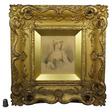 19th Century Regency Portrait of A Lady, Watercolor,  STUNNING Gilt Swept Frame, Louis XV Circa 1815
