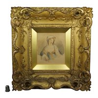 Antique 18th Century Portrait of A Lady Watercolor STUNNING Gilt Swept Frame, English Country House