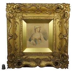 18th Century Portrait of A Lady Watercolor STUNNING Gilt Swept Frame, English Country House