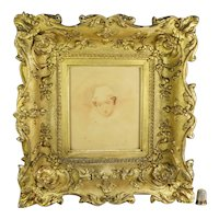 Antique 18th Century Watercolor Portrait, Mary Queen Of Scots, Stunning Frame, English