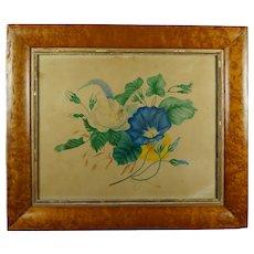 19th Century English Watercolor Theorem Botanical Flowers, Birds Eye Maple Frame, Circa 1830 Georgian Folk Art