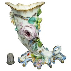 Early 19th Century English Porcelain Cornucopia Vase, Coalbrookdale Floral Encusted Circa 1820 AF