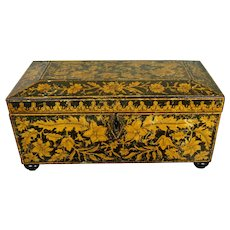 Early 19th Century English Regency Period Penwork Painted Box, Flowers and Exotic Bird, Circa 1810, Jane Austen period