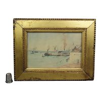 19th Century Miniature Naïve Watercolor Harbour Scene Painting Steam Boats Ships, Gilt Frame Circa 1885