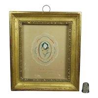 Stunning French Miniature Watercolor Devotional Saint Remembrance Pansy Lemon Gilt Frame Circa 1830