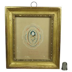 Stunning French Miniature Watercolor Devotional Saint Remembrance Pansy Lemon Gilt Frame Circa 1830