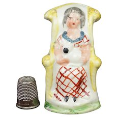 RESERVED FOR JK 19th Century Miniature Staffordshire Toy Figure Girl And Cat, Pearlware, Circa 1820