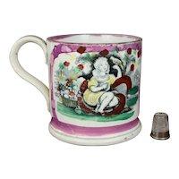 19th Century English Childs Pottery Mug Pink Luster Lustre Ware Girl And Bird Circa 1840 Nurseryware