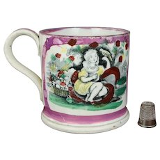 19th Century English Childs Pottery Mug Pink Luster Lustre Ware Girl And Bird Circa 1840 Nurseryware