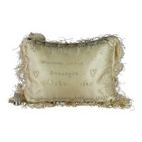 19th Century Layette Pincushion Christening Pillow Welcome Little Stranger Dated 1849