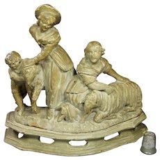 RARE Circa 1800 Carved Polychrome Figure, Pastoral Grouping, Children, Sheep, Georgian Federal Era