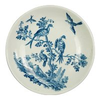 18th Century Worcester Porcelain Plate Saucer, Birds in Branches Pattern, Dr Wall First period Circa 1770