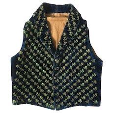 Antique 19th Century Hand Embroidered Waistcoat, Men's Vest, Blue Velvet Silk Embroidery Roses C 1840's