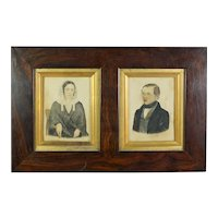 19th Century Double Portrait Miniature Mother And Son Victorian Naïve Folk Art Primitive Circa 1885