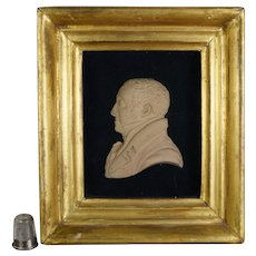 Antique 19th Century Miniature Terracotta Portrait Profile Relief Georgian Gentleman Circa 1815 Regency