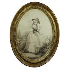English 18th Century Watercolor En Grisaille Portrait, Georgian Lady, Original Oval Gilt Frame C 1780