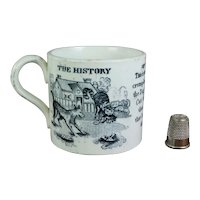 Rare Staffordshire Children's Mug, Rhyme The House That Jack Built, Transferware Cup Circa 1830s Dog Cow Cat