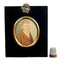 19th Century Portrait Miniature, English Characterful Gentleman, Georgian Regency Circa 1810