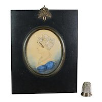 19th Century J. H. Gillespie Portrait Miniature Watercolor Lady In Blue Dress Circa 1810