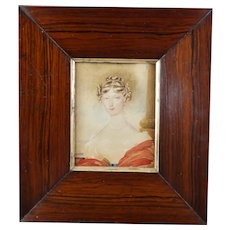 Antique Regency Portrait Miniature Of An Aristocratic English Lady, Red Shawl Circa 1815