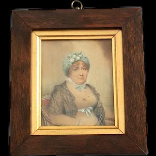 Regency Miniature Portrait of a Lady in Silk Turban , Watercolor On Card, C 1810 AF