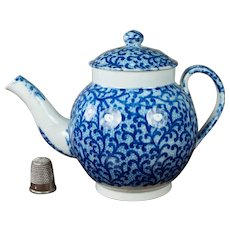 19th Century Miniature Staffordshire Childs Toy Teapot, English Blue And White Transferware Pearlware Circa 1820