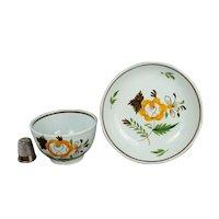 18th Century Prattware Childs Toy Tea bowl And Saucer Pearlware Miniature Circa 1790 Naïve